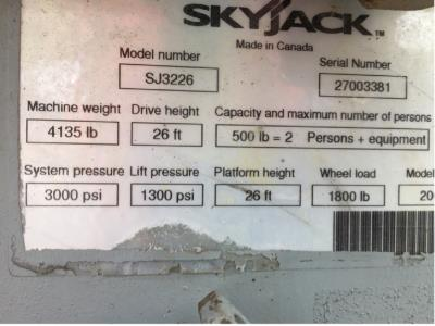 Detail photo of 2008 Skyjack SJIII 3226 from Construction Equipment Guide